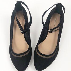Torrid Shoes Black Mesh Ankle Strap Heel Wedge